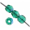 Czech Fire polished 4mm Emerald Aurora Borealis
